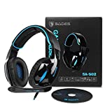 Gaming Kopfhörer Sades SA902 Wired Over-Ear-Kopfhörer Dolby 7.1 Surround Sound Stereo High-Fidelity LED mit Mikrofon Gaming headset Für PC/Laptop (Schwarz Blau)