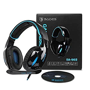 SADES Gaming Headset 7.1 Surround Sound USB LED Over Ear Headphones