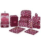 DOKEHOM DKA3003WF2 9 cubos del embalaje organizadores de viajes, Organizadores para maletas, disponible en 2 colores (Vino Rojo Flor)