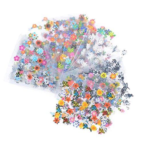 Bluelans® Nagelsticker- Wassertransfer Nail Art - 10 Blatt 3D Nail Art Sticker Aufkleber Nail Tips Dekorationen
