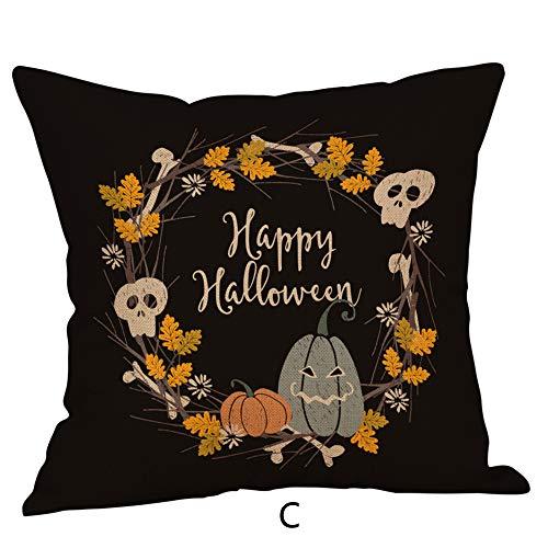 jieGREAT ❄ Weihnachten Deko❄ ,Halloween Kissentaschen Leinen Sofa Kürbis Geister Kissenbezug Home Decor