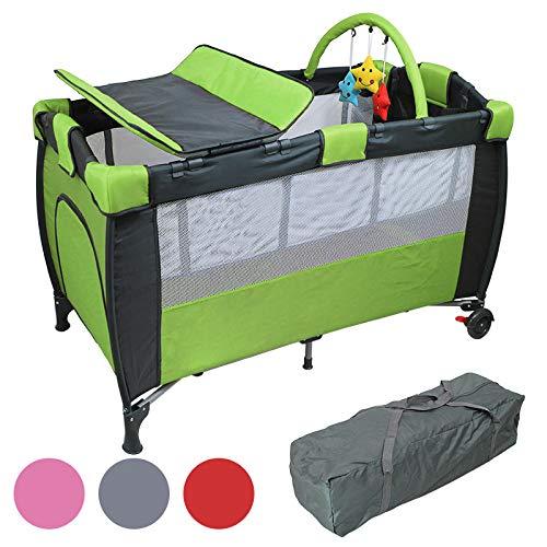 Monsieur Bébé ® Lit parapluie 60 x 120 cm + matelas + table à langer + jouets + hamac - 4 coloris - Norme NF EN12221+A1 et NF EN716-1+A1