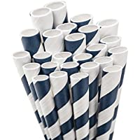 Aardvark Paper Straws Unwrapped Jumbo, 20 cm, per bambini, 50 kg, colore: blu/bianco a righe