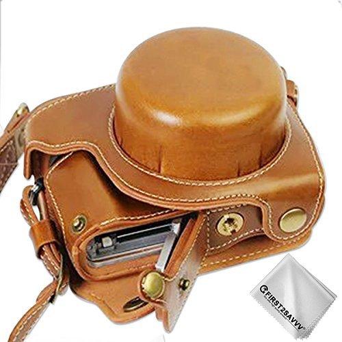 First2savvv marrón Calidad premium Funda Cámara cuero de la PU cámara digital bolsa caso cubierta con correa para Panasonic Lumix DC-GF9.CGX850.GX800 (12-32mm Lens) XJD-GF9-HH09G11