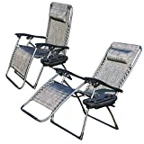 2er Set Liegestuhl Klappbar Ziigo Camping Stuhl Klappsessel mit Getränke-Tablett | Abnehmbaren Kopfkissen | Atmungsaktiven Liegefläche | Wippfunktion Klappstuhl Garten Stühle Sessel | Eigengewicht von 8,3kg
