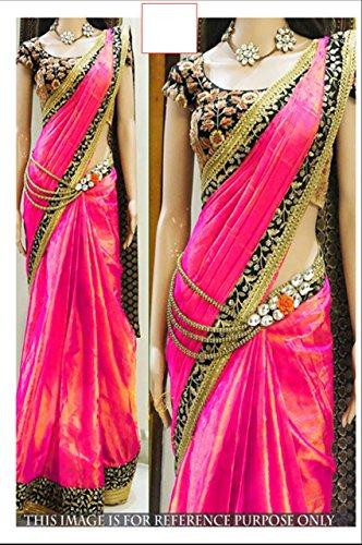 Saree ( By Design Women\'s Pink Silk Saree With Velvet Work Blouse)