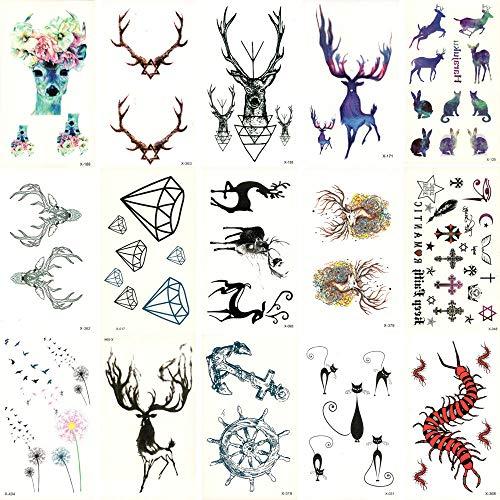 Temporäre Tattoo-Aufkleber 15 Stücke Gefälschte Temporäre wasserdichte Tattoo Wassertransfer Deer Elefant Aufkleber Schönheit Kunst Kühle Make-Up Live Von Song (Es Ist Song Halloween-zeit)