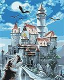 YEESAM ART Neuheiten Malen nach Zahlen Erwachsene Kinder, Geist Schloss, Fledermaus & Wolf 40x50 cm Leinen Segeltuch, DIY ölgemälde Weihnachten Geschenke