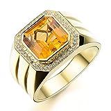 Hombres's Naturales Grande Citrina Piedra preciosa Diamante Sólido...