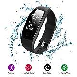 Fitness Tracker, Voberry Wasserdicht Smart Uhr mit Schrittzähler Herzfrequenz Pulsmesser Kalorienzähler und Schlaf-Monitor, Smart Watch Sportarmbanduhr Anrufen/SMS Reminder for Android and IOS(Schwarz)
