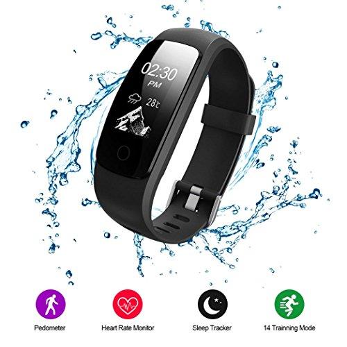 Fitness Tracker, Voberry Wasserdicht Smart Uhr mit Schrittzähler Herzfrequenz Pulsmesser Kalorienzähler und Schlaf-Monitor, Smart Watch Sport Armbanduhr Anrufen/SMS Reminder for Android and IOS(Schwarz)