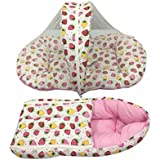 GoodLuck Baybee - Baby Combo Cotton Printed Carry Bed & Net Bed Baby Sleeping Bag With Mosquito Net For New Born Baby | Sleeping Bed Cum Bedding Set | Baby Mattress Carry Bag For New Born Babies| (0-6 Months) -( Pink )