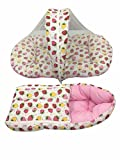 #5: GoodLuck Baybee Baby's Combo Cotton Printed Carry Bed and Sleeping bag with Mosquito Net (Pink)