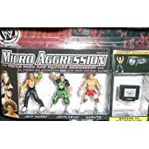 WWE Micro Aggression Series 3 Jeff Hardy, John Cena and Carlito 2 inch Figure Triple Pack of Professional Wrestling Action Figure Toys by Jakks Pacific by Jakks Pacific