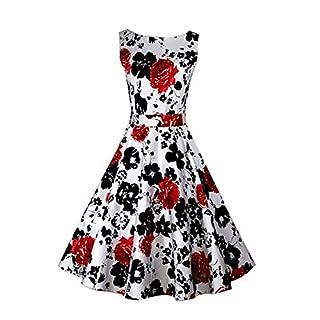 Minetom Damen Audrey Hepburn Blumendruck Elegant Weinlese Rockabilly Dress Swing Abend Hochzeit Abschlussballkleid ( Rot EU L )