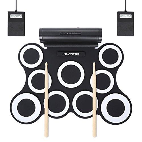 Paxcess Elektronisches Schlagzeug, Drum Set, Roll Up Schlagzeug Midi Drum Kit mit Kopfhörer und eingebaute Lautsprecher Drum Pedals und Sticks, Geschenk für Kinder und Jungen (9Pads-Weiß)