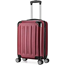 Valise cabine 55cm bagage a main ABS 4 roues rigide ultra leger 5 couleurs 40L (Rouge)