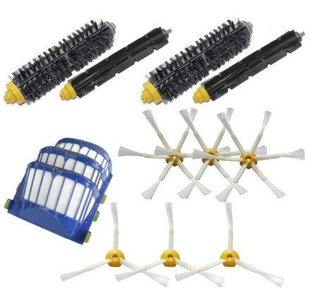 TOP-MALL 3aero VAC Filtri e 3bracci + 36-Armed Side Pennelli e 2pennelli a setola e 2flessibile Beater Pennelli rifornimento Kit Mega per iRobot Roomba Serie 600(620630650660680) Aspirapolvere Robot