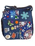 Umhängetasche Canvas Style mit aufgenähten Patches, Buttons und floralem Muster - Maße 28 x 29 cm - Damen Mädchen Teenager Tasche (blau)