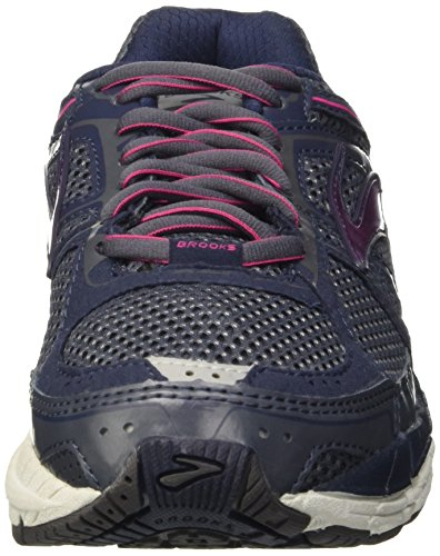 Brooks Addiction 12, Chaussures de Running Compétition Femme Multicolore - Ombre Blue/Obsidian/Fuchsia Purple