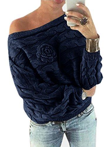YOINS Schulterfrei Oberteile Damen Herbst Winter Off Shoulder Pullover Pulli für Damen Loose Fit mit Blumenmuster Dunkelblau XL