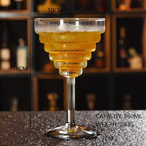 GHGYUF 1pcs Creative Screw Champagne Cocktail Flutes Lead-Free Crystal Margarita Martini Glasses Goblet Bubble Cup,A002 Margarita-goblet