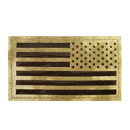 2AFTER1 Infrared IR Multicam Reversed USA Flag IFF Morale Tactical Cordura Combat Fastener Patch (Combat Morale Patches)