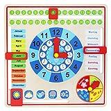 Tooky Toy Holz Jahresuhr für Kinder Lernuhr mit der Ihr Kind spielend leicht die Uhr