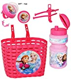 alles-meine.de GmbH 3 TLG. Set _ Fahrradkorb & Trinkflasche & Hupe -  Disney Frozen - die Eiskönigin  - Flasche mit Halterung - Befestigung für Lenker vorn - Fahrrad Kinder - M..