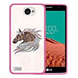 WoowCase LG X150 Bello 2 Hülle, Handyhülle Silikon für [ LG X150 Bello 2 ] Ethnisches Pferd Handytasche Handy Cover Case Schutzhülle Flexible TPU - Rosa