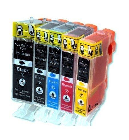 5 x kompatible XL Tintenpatronen mit Chip & Füllstandanzeige für Canon, kompatibel zu PGI 520 CLI 521 Schwarz Cyan Gelb Magenta - Kompatible Cyan Tintenpatrone