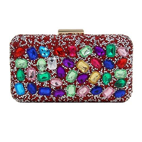 Sacchetto Della Maniglia Del Cristallo Di Diamante Di Alta Qualità Borsa Da Sera Femminile Red