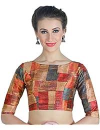 Studio Shringaar Women's Polyester Back Button Saree Blouse