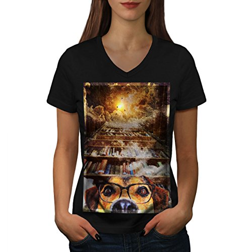 Wellcoda Dog Geek Space Fantasy Womens V-Neck T-Shirt, Book Graphic Design Tee
