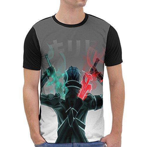 VOID Kirito Grafik T-Shirt Herren All-Over Druck Anime Sword Schwert, Größe:XL - Shirt Grafik