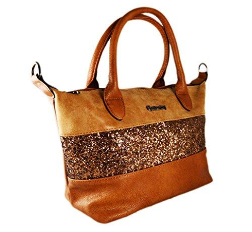 Gallantry-Sac à main à paillettes/sac de ville taille moyenne compatible ipad air Camel