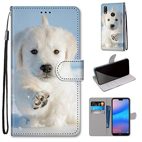 Miagon Flip PU Leder Schutzhülle für Huawei Y6 2019,Bunt Muster Hülle Brieftasche Case Cover Ständer mit Kartenfächer Trageschlaufe,Schnee Hund