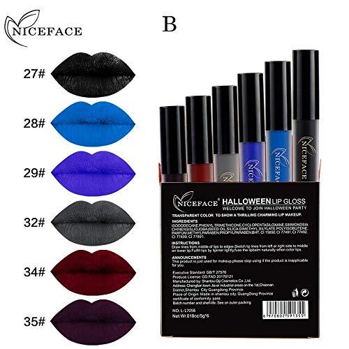 (Qiusa Halloween 6 Stücke Stil Lip Dessous Matte Flüssigkeit Lippenstift Wasserdicht Lipgloss Set (Farbe : B))