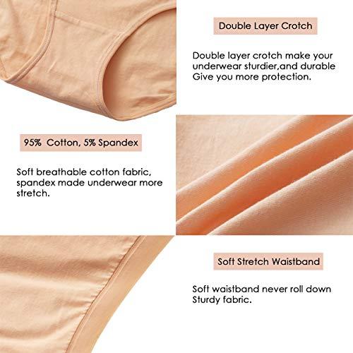 K-cheony Comfort Damen Hoher Taille Baumwolle Unterwäsche Weiche Slip Panty Regular und Übergröße - - Groß - 6