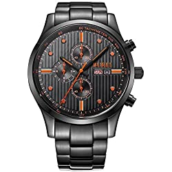 BUREI® Men's Stainless Steel Chronograph Day and Date Quartz Watch with Black Bracelet, Black Dial - Ideal and Celebrative Gift for Christmas Thanksgiving Day Festival and New Year Sales