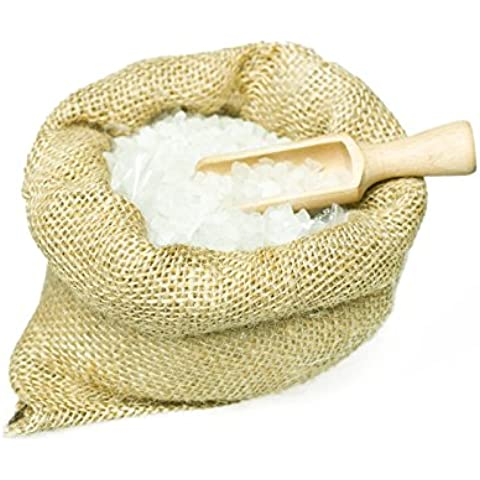 Sal de baño - Bath salts with rose (1500 g) in a jute sack with wooden scoop. Unique packaging! Particularly suitable for hot tub, jacuzzi and whirlpool Sal de baño -