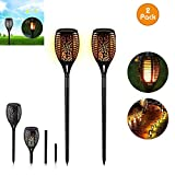 Omaliss Solar Torch Lights,IP65 Waterproof LED Flame Torch Lights Flickering Torches with Realistic Flames Solar Powered for Outdoor Garden Landscape Decoration Path Lighting Dusk to Dawn 2 pack