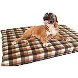 KosiPet® Large Deluxe High Density Foam Mattress Waterproof Dog Bed Beds Brown Check Fleece