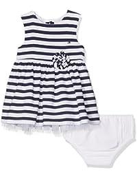 Tommy Hilfiger Stripe Dress Slvls, Vestido para Bebés, Azul (Navy Blazer), 68