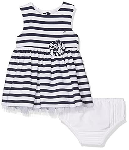 Tommy Hilfiger Stripe Baby Girl Dress Slvls, Robe Bébé Fille, Bleu (Navy Blazer), 68