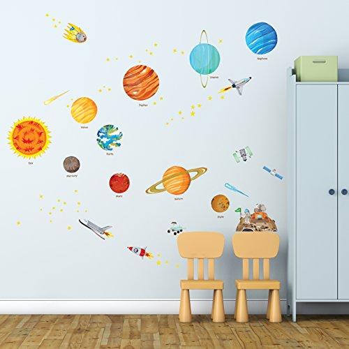 e Solar System schälen und Stick Kinderzimmer Wandtattoo Aufkleber (groß), Größe M ()