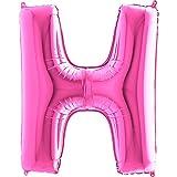Trendario Ballon Buchstaben - XXL Riesenbuchstabe 100cm Folienballon - Helium Luftballons für Geburtstag, Taufe, Party Deko, Hochzeit in verschiedenen Farben (H, Pink)