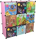 KEKSKRONE Großer Kinderschrank Bunte Motiv-Türen - DIY Stecksystem - 9 Module je 37 x 37 x 37 cm, Rosa | Kinderzimmer-Schrank | Kinderkleiderschrank | Baby-Regal | Spielzeugkommode