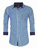 KoJooin Trachten Herren Hemd Trachtenhemd Langarmhemd Freizeithemd Baumwolle - Für Oktoberfest, Business, Freizeit Blaue Nähte L-38