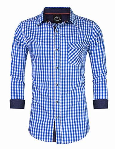 KOJOOIN Trachtenhemd Herren kariert Freizeithemd Landhausstil Langarmhemd/Kurzarmhemd Slim fit Hemd Bestickt Baumwolle - für Karneval, Oktoberfest, Business, Freizeit